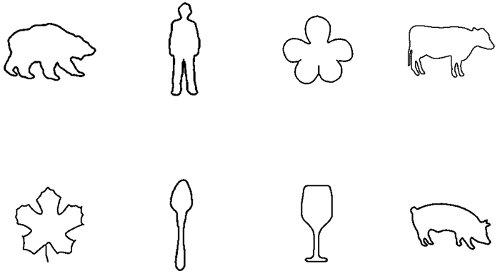 Набор 1. Контурные изображения повседневных предметов и объектов.  Те